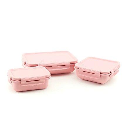 Kit Completo 3 Marmitas Herméticas de Plástico Rosa