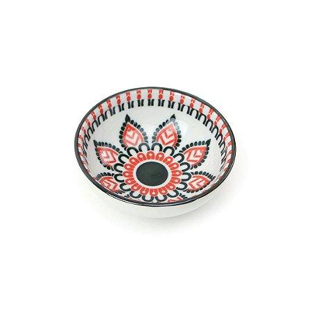 Bowl Oriental Estampado Flor Vermelha Pequeno