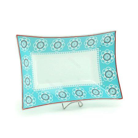 Travessa Retangular Funda de Vidro Estampada Flores Azul