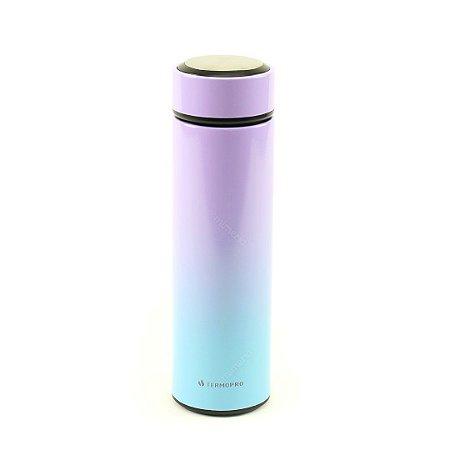 Garrafa Térmica de Inox com Infusor Tie Dye Lilás e Azul 500 ml
