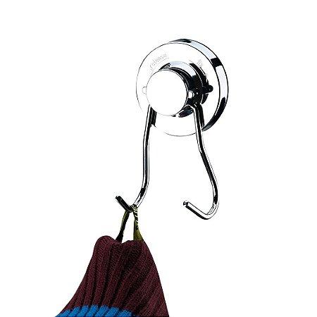 Gancho Duplo Multiuso com Ventosa em Aço Cromado