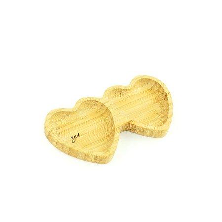 Petisqueira de Bambu Coração Dupla