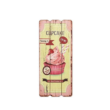 Placa Decorativa de Madeira Cupcake Rosa 35x15