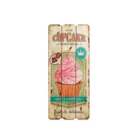 Placa Decorativa de Madeira Cupcake Bege 35x15