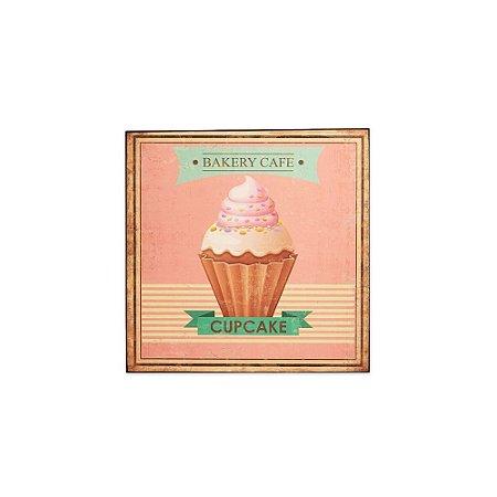 Placa Decorativa de Madeira Cupcake Rosa 24x24