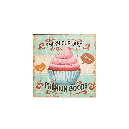 Placa Decorativa de Madeira Cupcake Azul 24x24