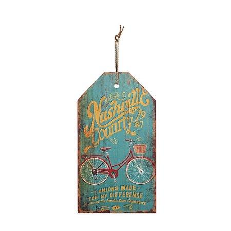 Placa Decorativa de Madeira Bicicleta Azul 27x15