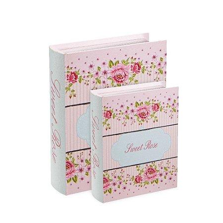 Conjunto 2 Livros Caixa Decorativos Sweet Rose Listrado