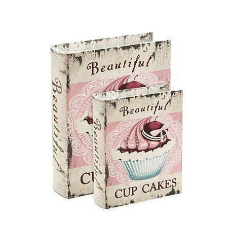 Conjunto 2 Livros Caixa Decorativos Cupcake Rosa Envelhecido