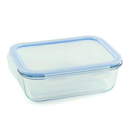 Pote de Vidro Refratário Hermético Retangular 1500 ml Azul