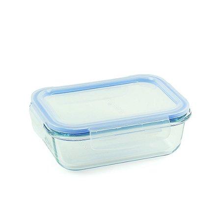 Pote de Vidro Refratário Hermético Retangular 630 ml Azul