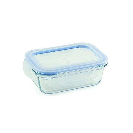 Pote de Vidro Refratário Hermético Retangular 370 ml Azul