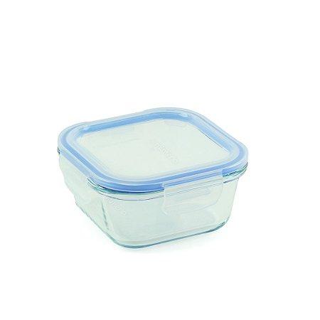 Pote de Vidro Refratário Hermético Quadrado 510 ml Azul