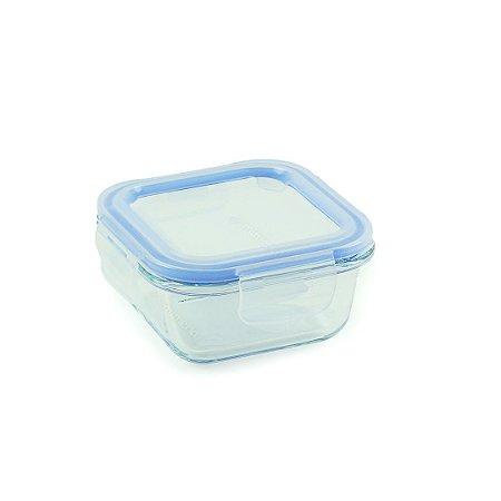 Pote de Vidro Refratário Hermético Quadrado 310 ml Azul