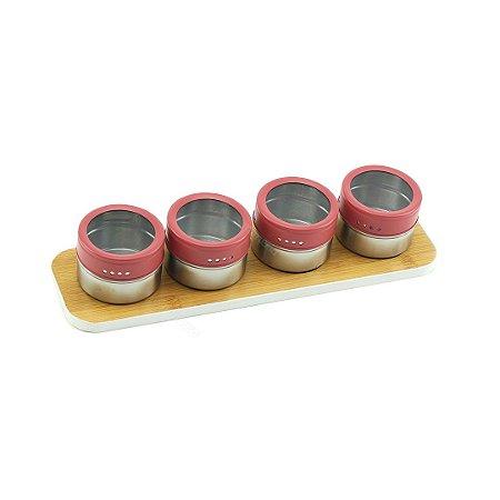 Porta Condimentos em Inox com Suporte Magnético 5 Peças