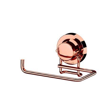 Suporte de Papel Higiênico com Ventosa em Aço Cromado Rose Gold