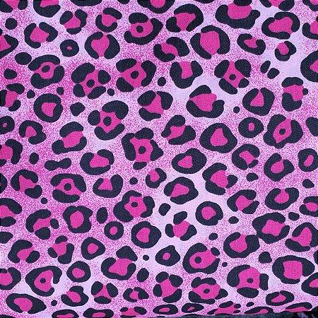 Tecido Tricoline Estampado Oncinha Rosa 100% Algodão - COR 40 - 1,00x1,50m