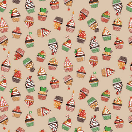 Tecido Tricoline Estampado Cupcakes 100% Algodão - COR 64 - 1,00x1,50m