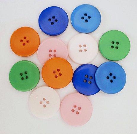 Botão 2,5 cm Diâmetro - Pacote Com 12 Unidades de Botões Com Cores Sortidas