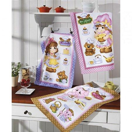 Pano de Copa Felpudo Prata - Happy Kitchen - Kit com 3 Unidades