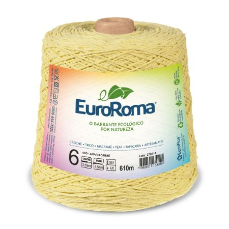 Barbante Euroroma 6 600g - Amarelo Bebê - 400