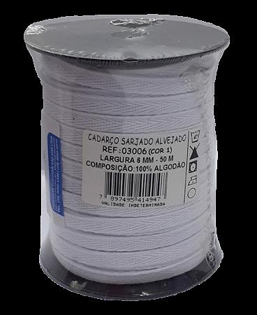 Cadarço Sarjado Algodão - São José - 6mm x 50m - Ref. 3006 Branco