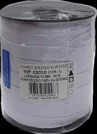 Cadarço Sarjado Algodão - São José - 10mm x 50m - Ref. 3010 Branco