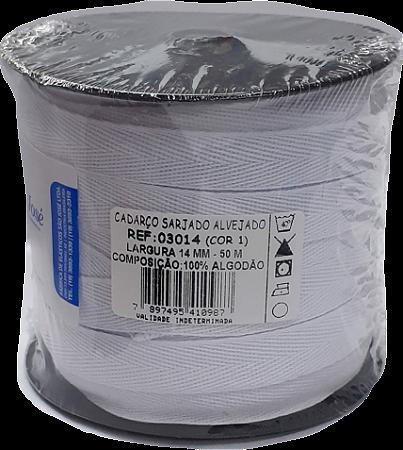 Cadarço Sarjado Algodão - São José - 14mm x 50m - Ref. 3014 Branco