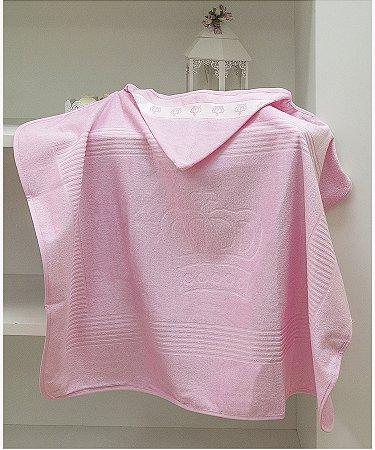 Toalha Com Capuz Para Bordar Dohler Baby Classic - 90 x 70 cm - Rosa 5211
