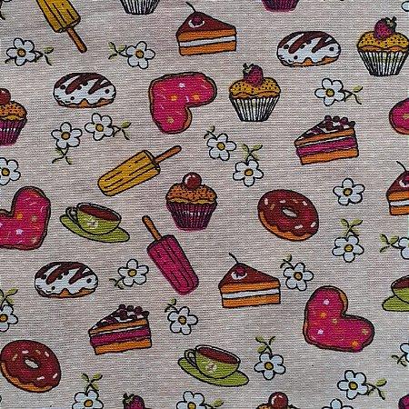 Tecido Tricoline Estampado Cupcake 100% Algodão - COR 100 - 1,00x1,50m