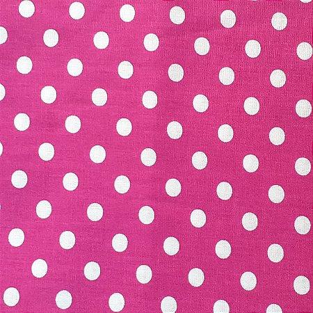 Tecido Tricoline Estampado Poá Rosa 100% Algodão - COR 101 - 1,00x1,50m