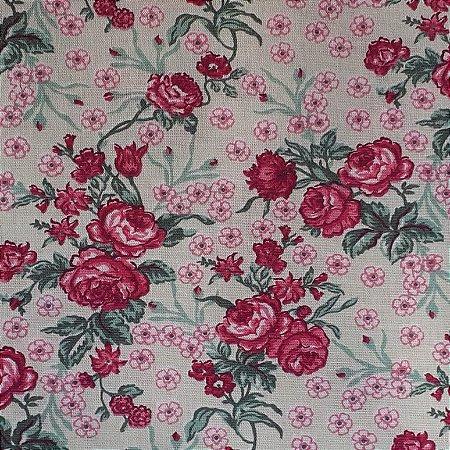 Tecido Tricoline Estampado Floral 100% Algodão - COR 104 - 1,00x1,50m