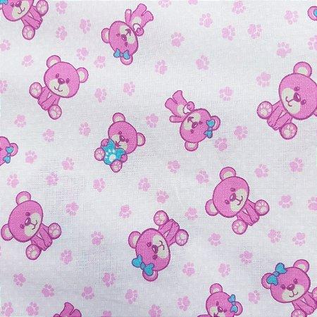Tecido Tricoline Estampado Urso Rosa 100% Algodão - COR 106 - 1,00x1,50m