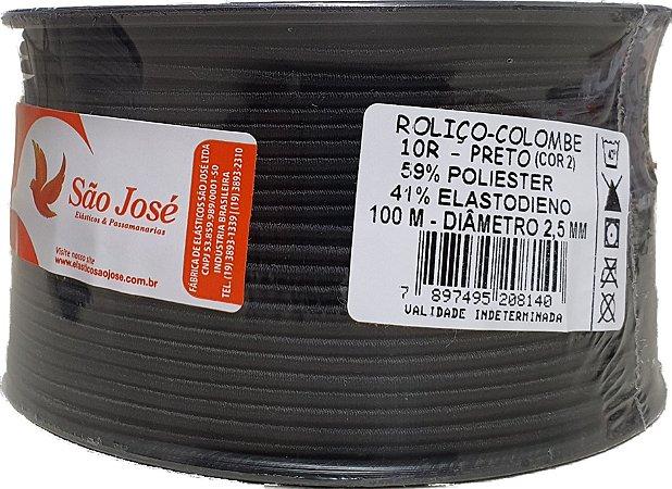 Elástico Roliço Preto 10R São José   2,5 mm - Rolo com 100 Metros