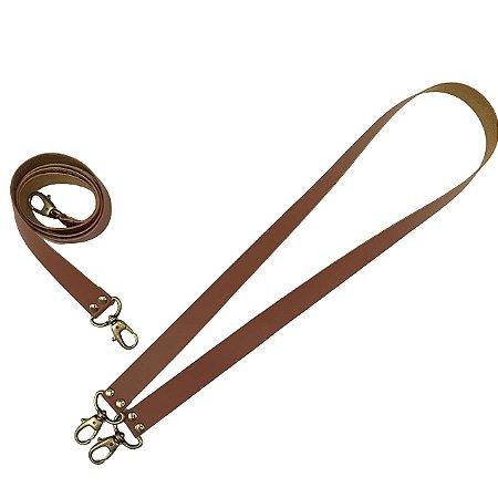 Alça de Bolsa Couro 90 / 100cm Sem Regulagem - Caramelo Com Mosquetão Ouro velho