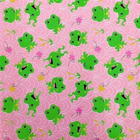 Tecido Tricoline Estampado Sapinho Fundo Rosa 100% Algodão Peripan 100X150 cm - COR 139