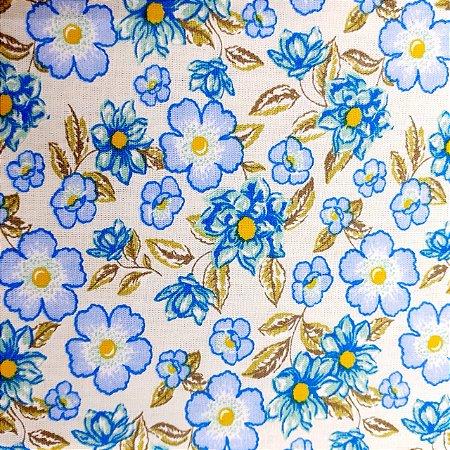 Tecido Tricoline Estampado Flores 100% Algodão - COR 162 - 1,00x1,50m
