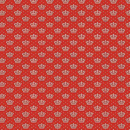 Tecido Tricoline Estampado Coroas Vermelho 100% Algodão - COR 169 - 1,00x1,50m