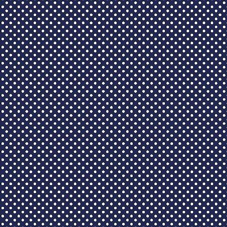Tecido Tricoline Estampado Poá Azul Marinho 100% Algodão - COR 171 - 1,00x1,50m