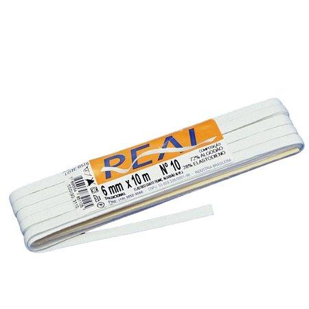 Elástico Chato Alvejado Branco Nº 10 Real | 6 mm - Peça com 10 Metros