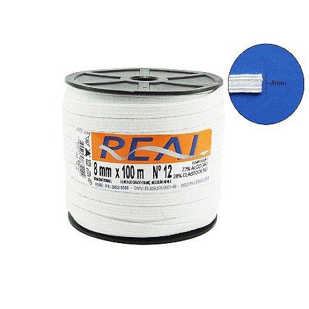Elástico Chato Alvejado Branco Nº 12 Real | 8 mm - Rolo com 100 Metros