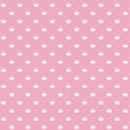 Tecido Tricoline Peripan Estampado Coroas Fundo Rosa 100% Algodão 100x150cm - COR 219