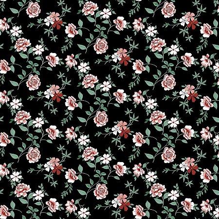 Tecido Tricoline Estampado Flores 100% Algodão - COR 226 - 1,00x1,50m