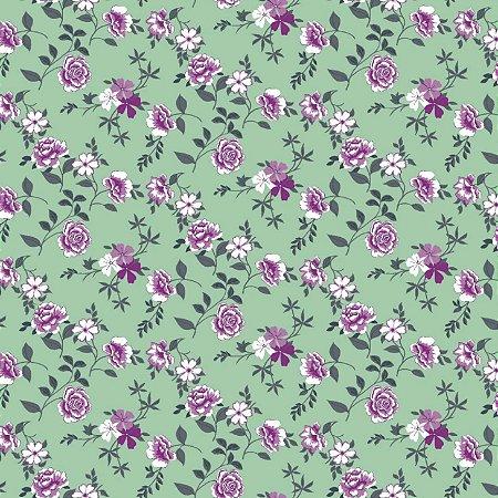 Tecido Tricoline Estampado Flores 100% Algodão - COR 227 - 1,00x1,50m
