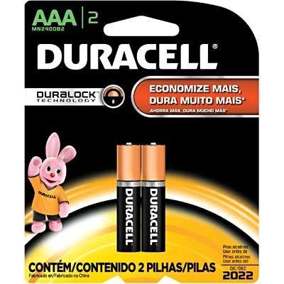 Pilha alcalina palito AAA Duracell c/ 02 un
