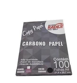 papel carbono preto caixa c/ 100 unidades radex
