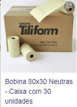 BOBINA P/AUTOMAÇÃO 80 X 30 NEUTRA CAIXA C/30 UNIDADES TILIFORM