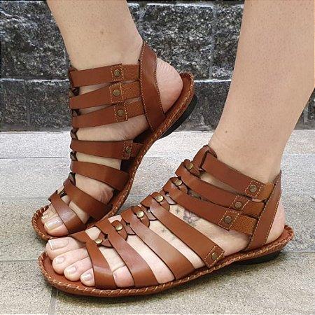 Sandália retrô em couro gladiadora 12176-5