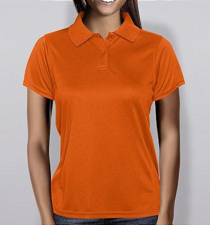 Polo em Piquet Feminina - Laranja - KG Camisetas Personalizadas 5a2132ffd0213