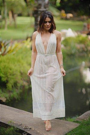 Vestido frente única renda nude